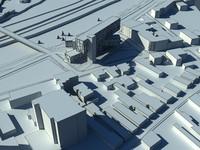 3d model modern hotel city