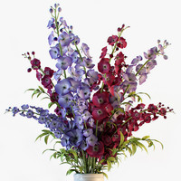 3d delphinium flowers vase model
