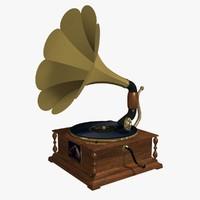 antique gramophone 3d 3ds