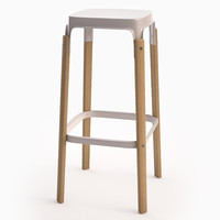 3d steelwood stool