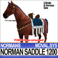 medieval norman saddle bridle 3d c4d