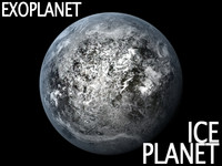 3d frozen ice planet model
