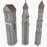 Castle Manor Tower Collection Minaret lighthouse house detail low poly exotic persian church cathedral old palace asylum monument history classical ancient historical vintage architecture architectural Rome Russia religion religious wonder memorial spire r