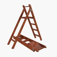 wooden folding ladder 3d max