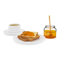 Toast with Honey and Coffee