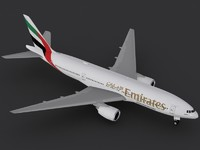 b 777-200 er emirates 3d 3ds