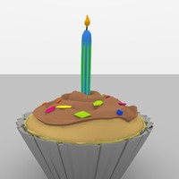 birthday party cupcake 3d model