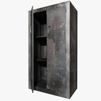 3d old tall metal cupboard model