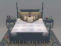 bed set mattress bedroom 3d model