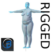 RIGGED Obese Woman Base Mesh HIGH POLY