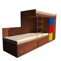 bed double kids 3d 3ds