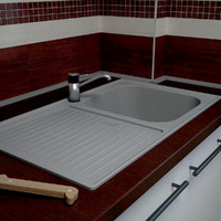 kitchen sink stainless steel 3d 3ds