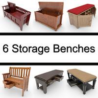 6 Storage Benches