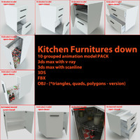 kitchen furnitures pack 3d 3ds