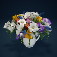 Flowers - hyacinth, freesia, tulip