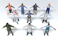 3d 10 professions characters man