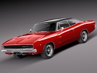 3d dodge charger 1968 muscle car