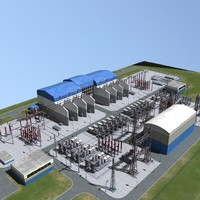 3d electrical substation station model