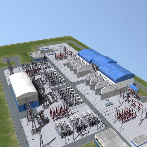 3ds max electrical substation station - Electrical substation... by seload