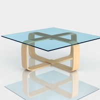 Table modern 1 ash wood glass
