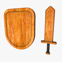 3ds max small wooden sword shield