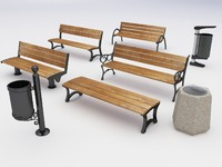 3d model park benches dustbins
