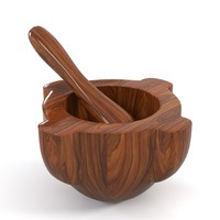antique mortar pestle 3d model