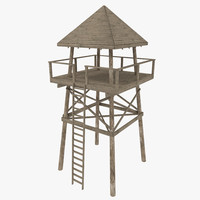 3d model wooden look tower