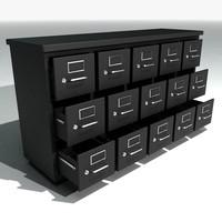 3d model short filing cabinets