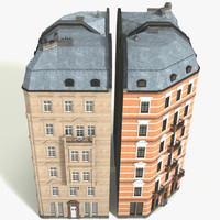 3d model of tileable 90° houses classical