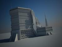 3d futuristic sci fi building model