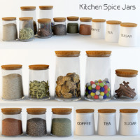 3d kitchen spice jars