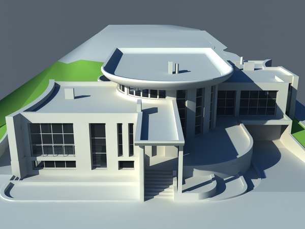 3ds max one-story house - one-story house... by archyuriy