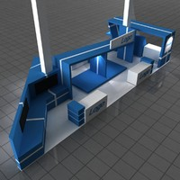 blue exhibition stall 3d max