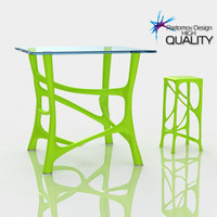 Table bio lime plastic with stool