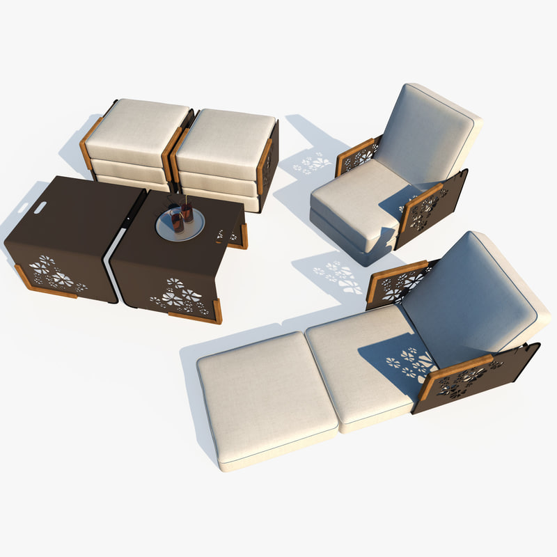 Outdoor lounge furniture chair table 3d model for Outdoor furniture 3d model