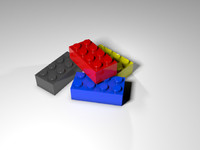 4x2 generic lego brick 3d 3ds