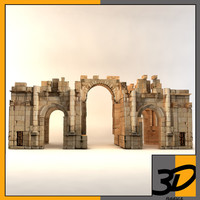 south gate jerash 3d model