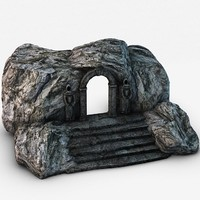 3d model of ancient stone entrance