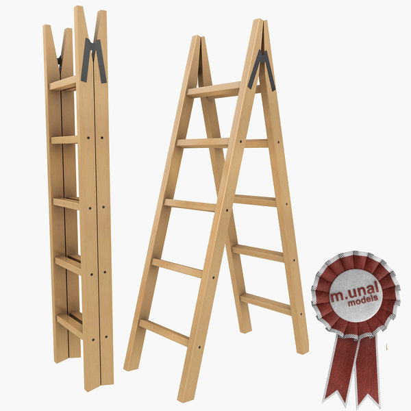maya wooden folding ladder - Wooden folding ladder 2... by m.unal