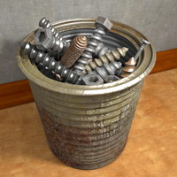 Tin Can With Screws And Nails