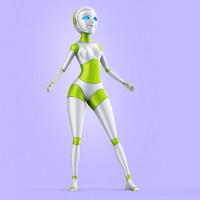 3d max lady robot
