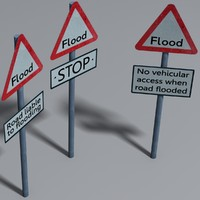 flood signs 3d model