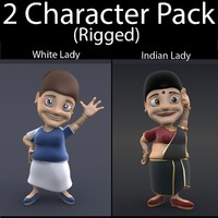 3d model character pack 06 lady