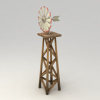Animated low poly farm wind mill
