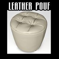 3d leather pouf