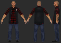 3d model biker character rigged