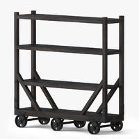 3d model vintage utility bar cart