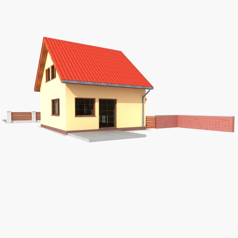 Simple detached house 3d model for Minimalist house 3d model