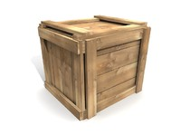 maya simple wooden crate wood